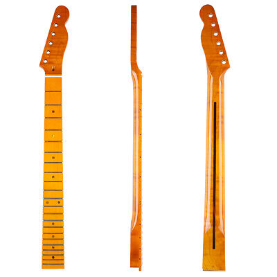 KAISH 22 Frets Highly Tiger Flamed Tele Guitar Neck Dark Yellow for Telecaster