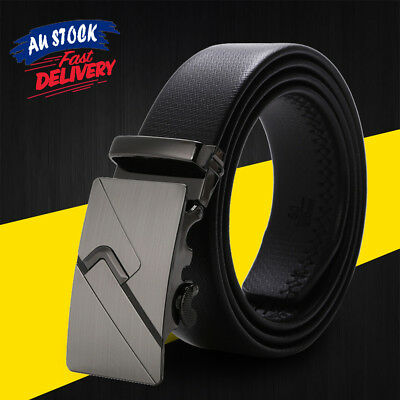 Strap Belts Automatic Ratchet Leather Mens Leisure Business Fashion Buckle Waist