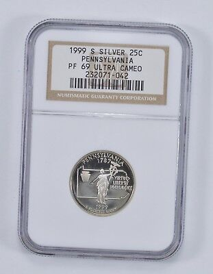 PROOF PF69UCAM - 1999-S Pennsylvania State Quarter 90% Silver - NGC Graded *377