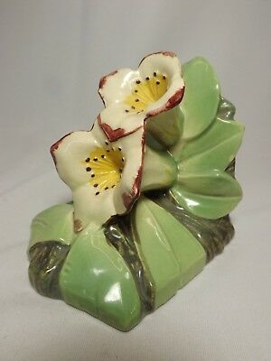 1 Vtg 1940s McCoy Pottery Double Dogwood Lily Flower Floral Bookend Pink Green