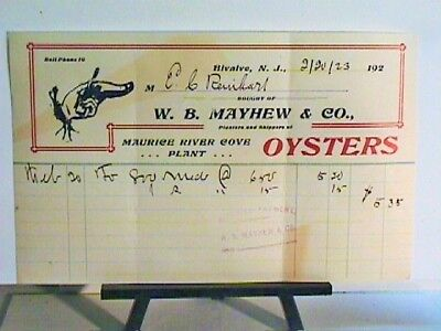1923 W B Mayhew & Co Bivalve N J Oysters Receipt Not Oysters Tin Oyster Can