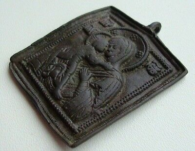 Russia 19th Century Vladimir Icon of the Mother of God Bronze M