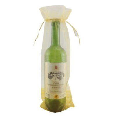10x Gold Bottle & Wine Organza Favor Gift Bags 6.5x15 inch R4N3