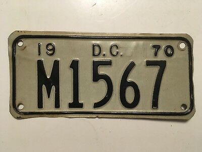 1970 Washington DC District of Columbia Motorcycle License Plate VERY GOOD Nice!