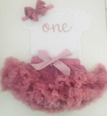 Luxury Girls 1st First Birthday Tutu Skirt Outfit Rose Gold Dusky Cake Smash Set