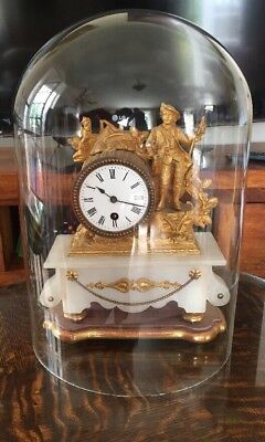 antique alabaster and gilt spelter mantle clock under glass dome