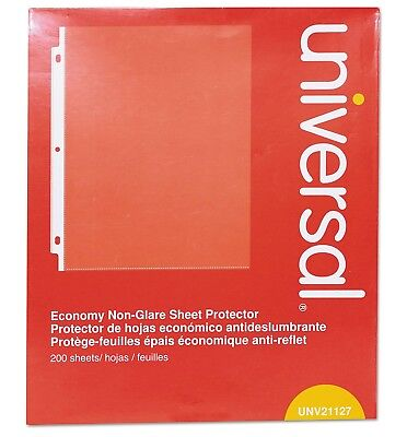 Universal Top Load Poly Sheet Protectors Nonglare, Economy, Letter, 200/Box.