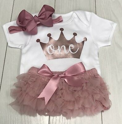 Luxury Girls Frilly Tutu Knicker Cake Smash 1st First Birthday Outfit Rose Gold