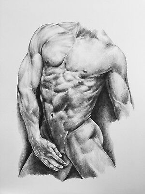A4 Pencil Drawing Nude Male Portrait