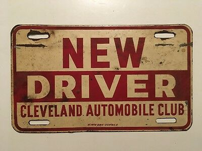 1930 S 1940 Ohio Cleveland Automobile Club License Plate Sign New Driver