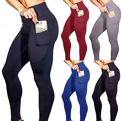 Womens Compression Fitness Leggings Yoga Gym Workout Pocket Sport Pants Trousers
