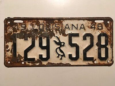1946 Louisiana License Single Plate Year YOM Ford Chevrolet Dodge Buick Cadillac