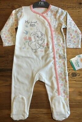 Mothercare Disney Baby Girls Floral Thumper Bunny Gift Sleepsuit 6-9m New