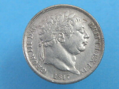 1817 KING GEORGE III - SILVER SIXPENCE COIN - Laureate Head - Good Detail