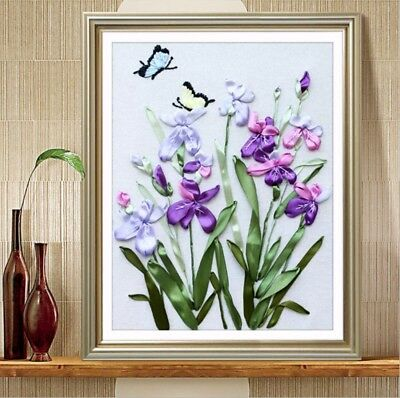 DIY Ribbon Embroidery Kit Orchid Flower Marked Pattern Cotton Unframed 50x40 cm
