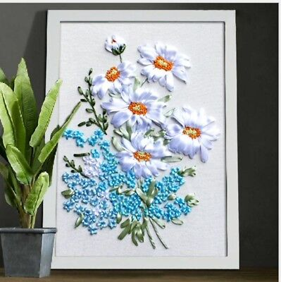 DIY Ribbon Embroidery Kit Daisy Bouquet Marked Pattern Cotton Unframed 45x35 cm
