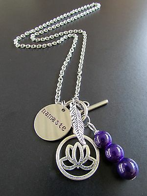 YOGA NECKLACE - Namaste,Lotus Flower,Leaf & Bead Drop suit Relaxation,Meditation