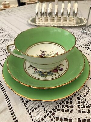 Vintage Green floral trio cup saucer tea plate with gilt beautiful!