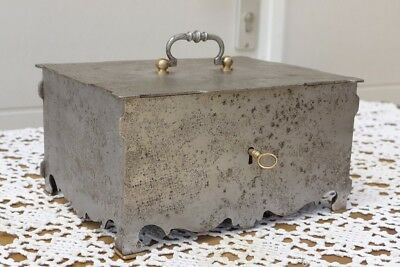 OLD ANTIQUE METAL SAFE CASH BOX SAFES WITH KEY about 1860