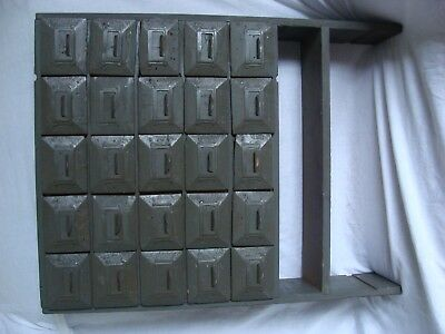 25 Drawer Apothecary Military Library Card File Cabinet Oak U S ARMY/AIR FORCE