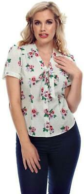 840e534051 COLLECTIF TURA 40S Pansy Floral Short Sleeved Blouse -  40.75