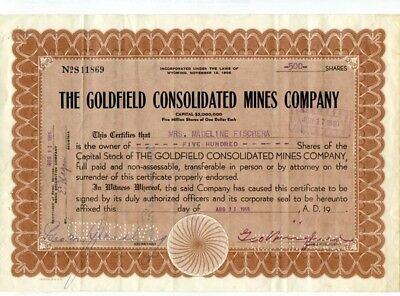 Goldfield Consoidated Mines, Goldfield NV, stock certificate.