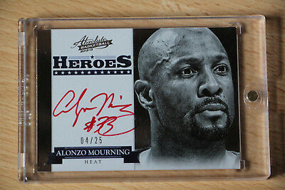 2012-13 Absolute Heroes Autographs Alonzo Mourning Red (SSP) Auto On Card/25