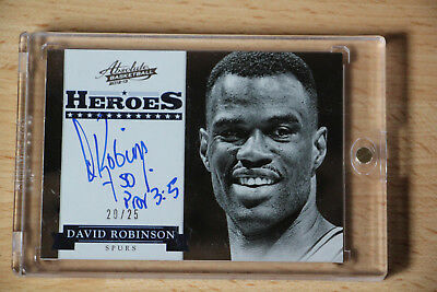 2012-13 Absolute Heroes Autographs David Robinson Auto On Card/25