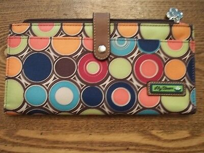 Lily Bloom Travel Wallet large Multi Color Circles great condition!