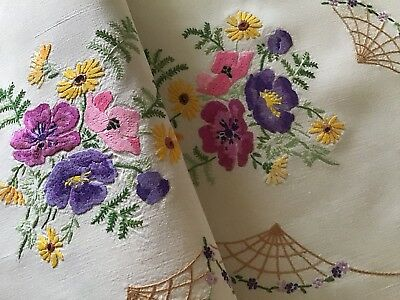 Exquisite Vintage Irish Linen Hand Embroidered Tablecloth ~ Anemones & Daisies