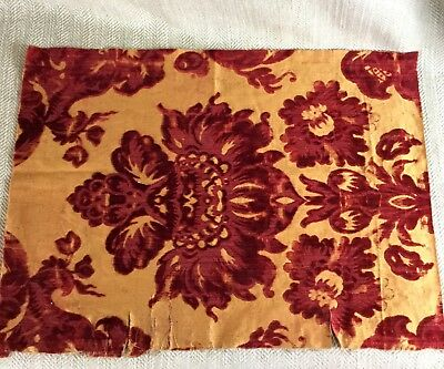 Antique Fabric Cut Velvet Damask Rare French Red & Gold Fragment