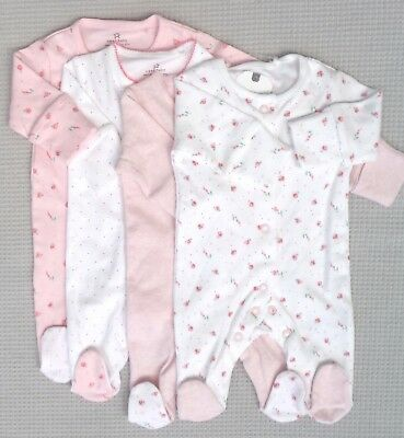 NEW BNWTS NEXT Baby Girls 4 Pack Pink Multi Sleepsuits Babygrows Newborn 7.8lbs