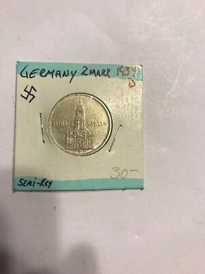 1934 D  2 Mark German Silver Coin WW2  Garrisonkirche Third Reich Reichsmark