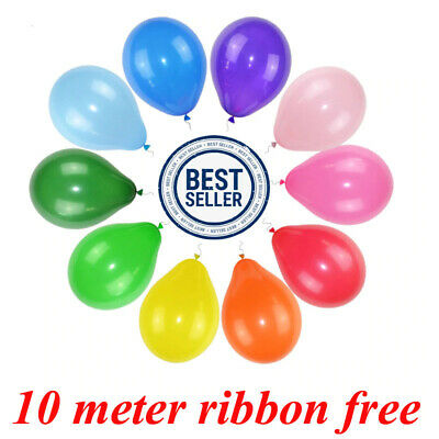 """Quality 10"""" Inch Round Plain Latex Party Balloons (Pack Of 30-100) (10 Colors)"""