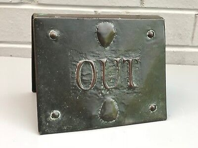 Rare Antique Arts & Crafts Art Nouveau In / Out Counter Top Hammered Copper Sign