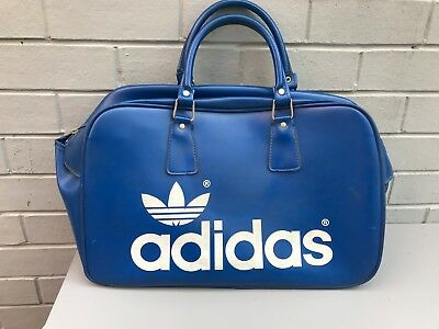 GOOD VINTAGE 1970s BLUE ADIDAS PETER BLACK HOLDALL / WEEKEND BAG - 80s CASUALS
