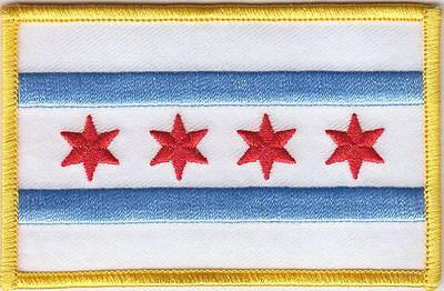 City Of Chicago Flag Patch, Biker Patches,flag Patches, Chicago Flags