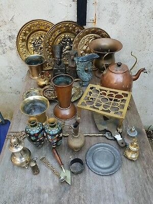 Large Job Lot Of Antique and Vintage Brass, Copper And Other Metals l. 12kg.