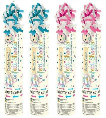 NEW 2 x BABY SHOWER GENDER REVEAL CONFETTI SHOOTER CANNON PINK BLUE POPPER PARTY