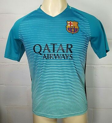 e1c77d34ad5 FCB FC BARCELONA Qatar Airways Soccer Jersey Mens L Large Unicef  9 Aqua  Blue