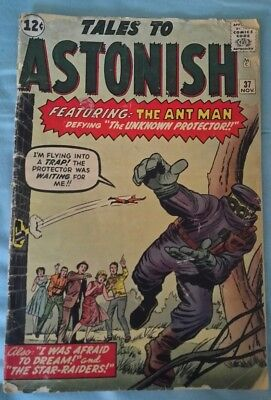 TALES TO ASTONISH #37 1962 featuring: The ANTMAN Defying The Unknown Protector!