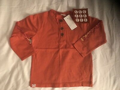 NWT APPAMAN Boys Flames Arm Henley Shirt Orange size 12 18 months
