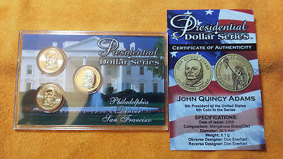 John Quincy Adams - 3 Coin Set  P D S  Uncirculated And Proof