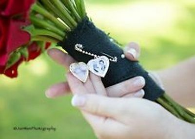 Wedding Bride Bouquet Heart Memory Photo Locket Charm, frame, lapel boutonniere