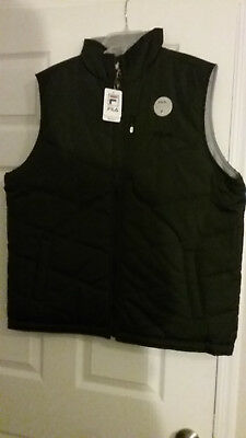 Fila Reversible Black & Grey Full Zip Vest Sport Outdoors Mens M