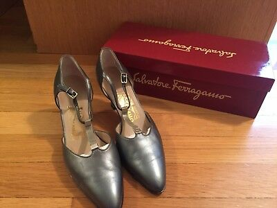 Salvatore Ferragamo Silver Womens heels Size 6 B Made In Italy