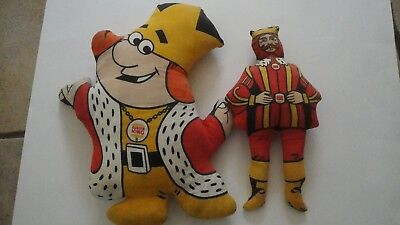 2  VINTAGE BURGER KING MASCOT PLUSH DOLL STUFFED FIGURE TOY 1970's