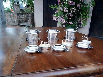 Antique French Silver plated stackable seives. Very heavy & rare items. Stamped.