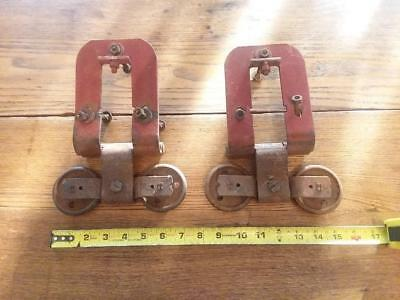 Vintage Antique Barn Door Trolley Hanger Roller Pair, Working Condition