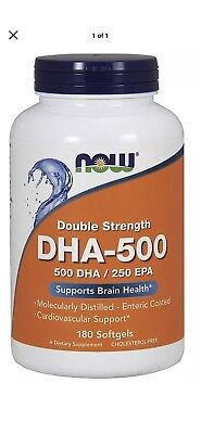 Now Foods DHA 500 mg - 180 Softgels SUPPORTS BRAIN & HEART HEALTH FAST Free Ship